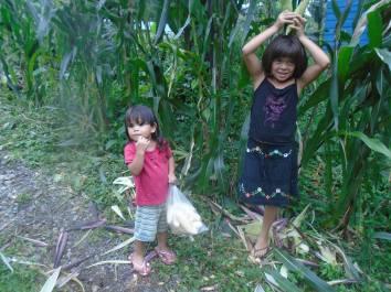 bri bri kids with corn